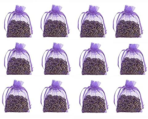 12 Pure Lavender Dry Flower 10g Satchels - Cozy Pouch Sachets Filled with Dried Lavender Buds - Natural Scent Fragrance for Aromatherapy - Car - Closet - Drawers - Moths - Wardrobe