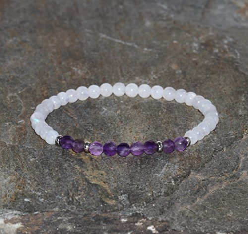 Moonstone Bracelet of 4 mm and Faceted Amethyst of 4 mm Natural Gemstone Bracelet Stone Beads Rainbow Moon and Amethyst Bracelet of Purple Violet and White Unisex AAA Grade Beads