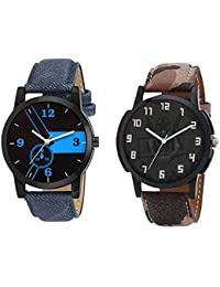 Xforia Boys Watch Blue & Brown Leather Latest Analog Watches For Men Pack Of 2