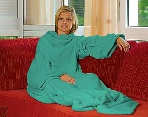"""Kuschelige Kuscheldecke Fleecedecke """"Snuggle"""" Decke mit Ärmeln in Türkis - das perfekte Geschenk"""