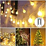LED Globe Lichterkette Weihnachtsbeleuchtung Warmweiß 40 LED Außen/Innen Kugel lichterkette Wasserdicht Weihnachtsdeko Beleuchtung mit IR Fernbedienung für Weihnachten Halloween Hochzeit