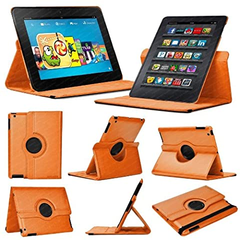 Stuff4 MR-KFHDX8.9-L360-O-STY-SP Leather Smart Case with 360 Degree Rotating Swivel Action and Free Screen Protector/Stylus Touch Pen for 8.9 inch Kindle Fire HDX 8.9 - Orange