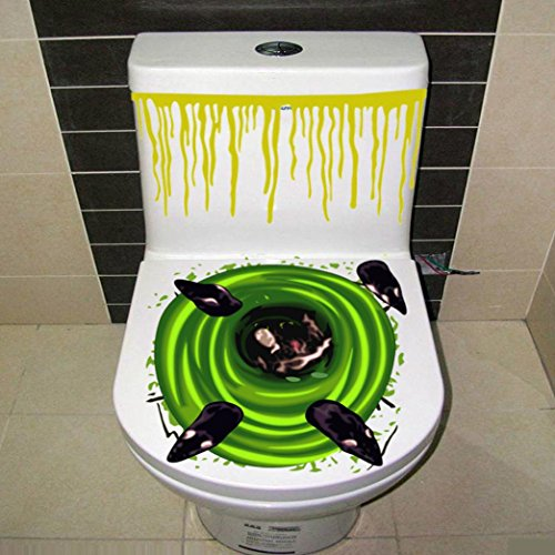 Hunpta Halloween blutige Hand Toiletten Abdeckungs Partei Dekoration Aufkleber Prop furchtsamer Zombie (F)