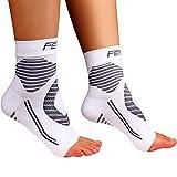 Featol Knöchelbandage Fußgelenkstütze Fußbandage Kompressionssocken, Schutzfunktion, Schmerzlinderung und Blutzirkulation behilfreich für Männer und Frauen (Weiß, L)