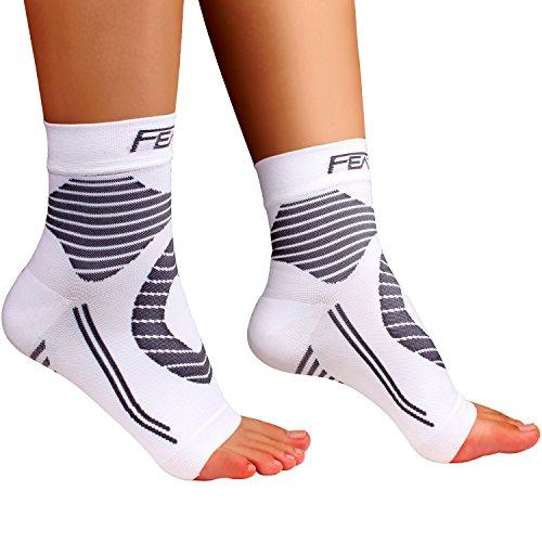 Featol Knöchelbandage Fußgelenkstütze Fußbandage Kompressionssocken, Schutzfunktion, Schmerzlinderung und Blutzirkulation behilfreich für Männer und Frauen (Weiß, S)