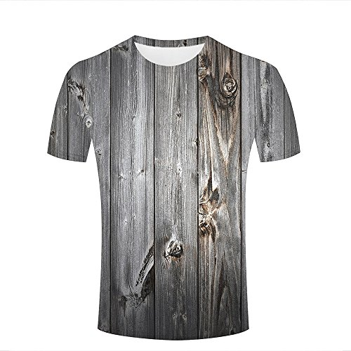 ouzhouxijia Mens T-Shirts 3D Printed Old Wooden Board Graphic Couple Tees A