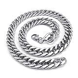 KONOV Schmuck Herren-Kette, Edelstahl Schwere groß Biker Königskette Halskette, Silber, Breite 12mm, Länge 55cm