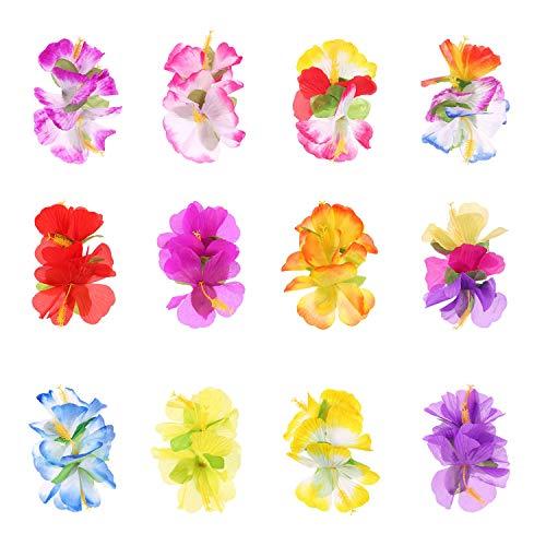 Blumen Haarspangen Hawaii Haar Blumen Mehrfarbig Haarklammer Haarschmuck für Mädchen Frauen Party Strand Hochzeit 12 Stück