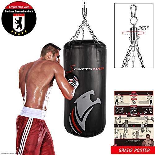 Sportstech Premium Kampfsport Boxsack mit Innovative Fünfpunkte-Stahlkette + Eigenentwickelter Haken und doppelverstärktes Boxsack-Set inkl. Poster für Boxen mit Boxhandschuhe Training am Punchingsack