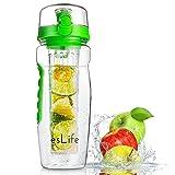 Best Infuser Water Bottles - esLife Fruit Infuser Water Bottle, 900ml/32oz BPA-Free Tritan Review