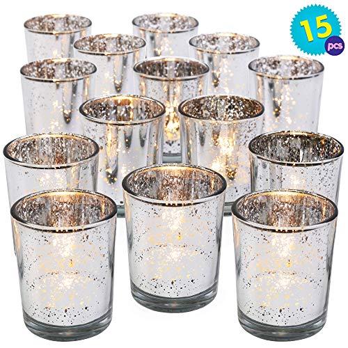 THE TWIDDLERS 15PCS Teelichthalter Silber | Votivglas Kerzenhalter Teelichthalter | Ideal Weihnachtstischdekorationen | Partys Hochzeiten Haus & Garten Romantisches Abendessen | Weihnachtsgeschenk
