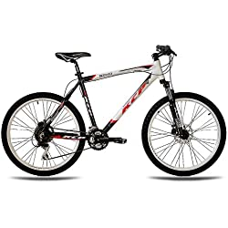 "26"" KCP MOUNTAIN BIKE MEN MEN SIKO ALLOY 24 speed SHIMANO black white - (26 inch)"