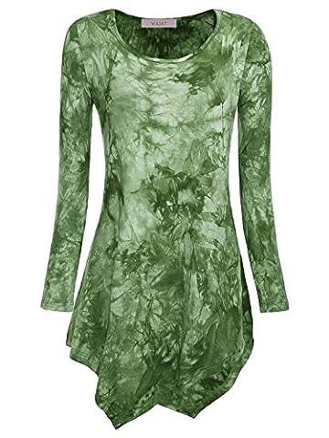WAJAT Damen Langarm T-Shirt Asymmetrisch Hem Tunika Stretch Grün M