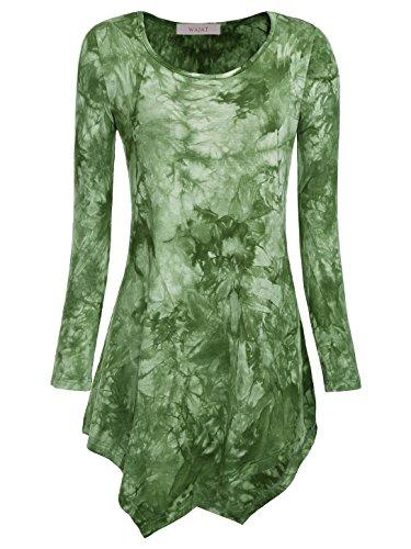 WAJAT Damen Langarm T-Shirt Asymmetrisch Hem Tunika Stretch Grün S (Dye T-shirt Damen Grüne Tie)