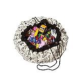Tappeto rotondo cameretta dei bambini, giocattoli organizer per borsa, grande in cotone Cartoon antiscivolo tappetino da gioco per bambini, con coulisse per la camera dei bambini