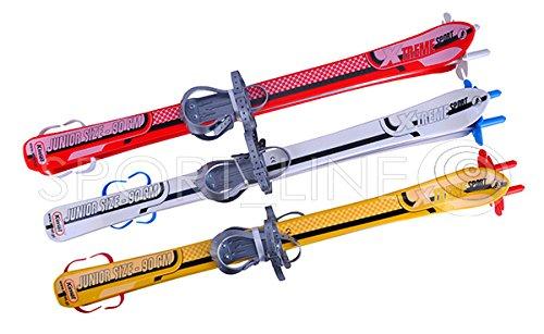 SKI SKIER KINDER BINDUNG + Stöcken KINDER-SKI Kunststoff 3 Farben 90 CM (Weiß)