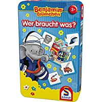 Schmidt-Spiele-51408-Benjamin-The-Elephant-51408-Benjamin-Blmchen-blau Schmidt Spiele 51408 The Elephant Benjamin Blümchen, Wer braucht was, Bring Mich mit Spiel in der Metalldose -