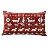 TWIFER Weihnachten Kissenbezüge Rechteck 30x50cm Baumwolle Linter Kissenhülle Deko Kissen (E, 30 x 50 cm)