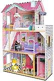 Leomark New Royal Mansion Doll Apart House Mansion Casa de Muñecas de Madera Muebles Mobiliario Bella Casita Apartamento Completo