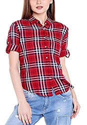 Spykar Womens Cotton Red Regular Fit Tops (Large)