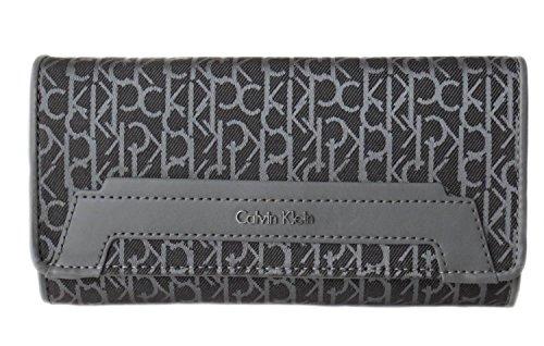 Calvin Klein Wallet-Core Logo Large Trifold Grau in grau Stoff mit Logo überall (Wallet Tri-fold Kleine)