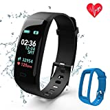 Fitness Tracker,Color Screen Activity Tracker Watch with Blood Pressure Blood Oxygen, IP67 Waterproof Smart Heart Rate Sleep with Monitor Calorie Counter Pedometer Band for Men, Women and Kids