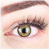 Glamlens Farbige Grüne Kontaktlinsen Mirel Green Stark Deckende Natürliche Silikon Comfort Linsen - 1 Paar (2 Stück) Mit Stärke -1.00 Dioptrien