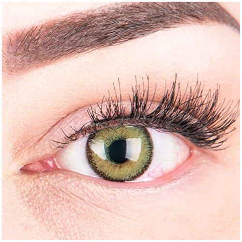 Glamlens Farbige Grüne Kontaktlinsen Mirel Green Stark Deckende Natürliche Silikon Comfort Linsen - 1 Paar (2 Stück) Mit Stärke -3.50 Dioptrien