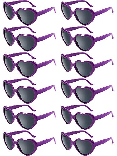 Blulu 12 Stück Neon Farben Herz Form Sonnenbrillen für Damen Kinder Party Favors und Festival (Lila)