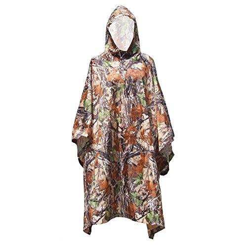 Hykis 3 in 1 Camouflage Raincoat Poncho im Freienwerkzeug Rucksack Regen Cover wasserdichten Zelt-Matten-Markise Klettern Radfahren Camping