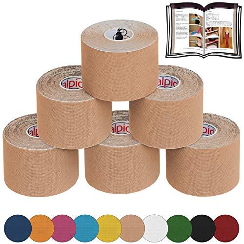 ALPIDEX 6 Rotoli Nastro Kinesiologico 5 m x 5,0 cm E-Book Esempi Applicazione Tape Kinesiologico Muscolare Cerotto, Colore:colore della pelle