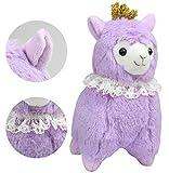 """KOSBON 6,7""""corona y encaje bufanda 100% Alpaca, cute de peluche suave animales de peluche juguetes de felpa, mejor cumpleaños y Navidad regalos para los niños."""