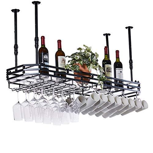 Weinregal zur Wandmontage mit Glashalter  Metall Decke hängen Schiene Weinhalter Weinglas Regal   Moderner Weinflaschenhalter for Küchen wandregal (Schwarz) Decke Regale