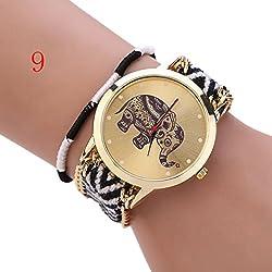 S&E Women's National Style Mini Elephant Shape Dial Plate Knitting Strap Wrist Watch