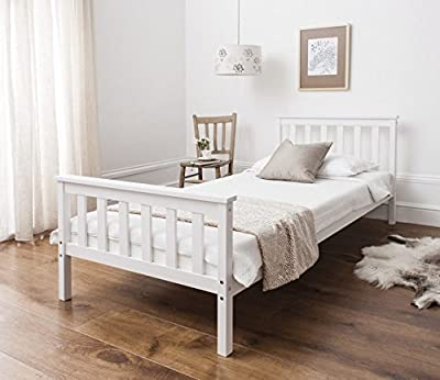 Home Treats Single Bed In White 3ft Solid Wooden Frame For Adults, Kids, Teenagers - cheap UK light store.
