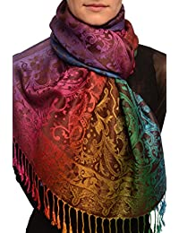 Large Ombre Paisley On Brown Pashmina Feel With Tassels - Marron ?charpe Taille Unique (70cm x 180cm)