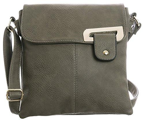 Big Handbag Shop - Borsa a tracolla donna (Dark Taupe - Gold Trim)