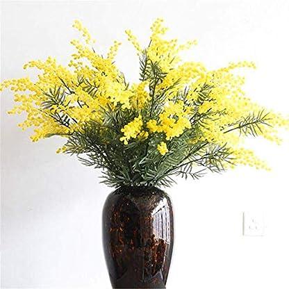 WEC Flores decorativas artificiales Flor de felpa amarilla Acacia Simulación Plantación de flores Flor de cerezo real Flor de alto grado Decoración del hogar Flor de la boda Los productos de la flor