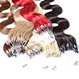 hair2heart 25 x 1g Echthaar Microring Loop Extensions, 40cm - gewellt - #10 straßenköterblond - Loops Haarverlängerung