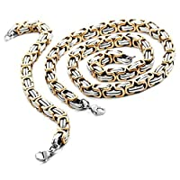 Stainless Steel Men Necklace - 9mm Wide Bracelet Link Byzantine Chain Set Biker Silver Gold - Adisaer