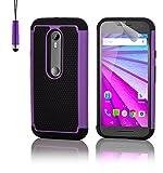 32nd® Funda rígida de Alta Protección para Motorola Moto G 3 (3. Generacion, 2015), incluye protector de pantalla, paño de limpieza y lápiz optico - Morado