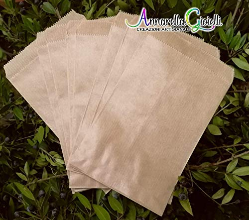 100 pezzi Sacchetti carta kraft, confettata, 10x16 centimetri, avana, bustine carta, sacchetti carta confetti, confettata, sacchettini kraft