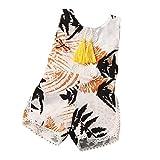 Bekleidung Longra Säugling neugeborenes Baby Mädchen Sommerkleidung Maple Leaf Print ärmellose Quaste Strampler Overall Bodysuit Spielanzug Jumpsuit für Baby (0 -24Monate) (90CM 12Monate, White)