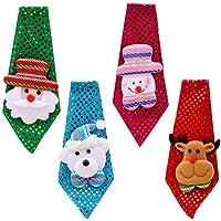 Vococal 4PCS Cravate Enfant Adults, Cravate Noel Crave Noel cute Noël  Cravate Santa Avec Décoration 1b8e217991b