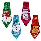 Vococal 4PCS Cravate Enfant Adults, Cravate Noel Crave Noel cute Noël Cravate Santa Avec Décoration de Noël pour Enfants Adultes