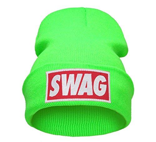 Beanie Hüte Mützen Damen Herren Bad Hair Day Bastard Meow Swag Wasted Commes HAT HATS Morefazltd (TM)(swag neon green)