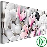 decomonkey Akustikbild Magnolien 135x45 cm 1 Teilig Leinwand Wandbilder XXL Schallschlucker Schallschutz Akustikdämmung Wand Bild leise Steine Spa Blumen