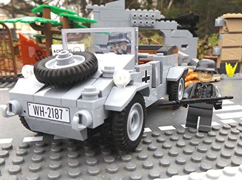 ✠ Bausteine VW Kübelwagen Typ 82 inkl. Modbrix custom Minifiguren Wehrmacht Soldaten - Cobi Upgrade 2187 ✠ thumbnail