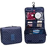 Navy Dot : IFUNLE Portable Multi-function Makeup Cosmetic Bag Waterproof Toiletry Travel Kit Wash Organizer With...