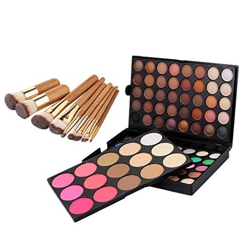 MagiDeal Palette de Ombres / Fards à Paupières 95 Couleurs Eyeshadow + 9pcs Brosse Pinceau de Maquillage en Bambou pour Fondation Poudre Fond de Teint Liquide Cosmétique